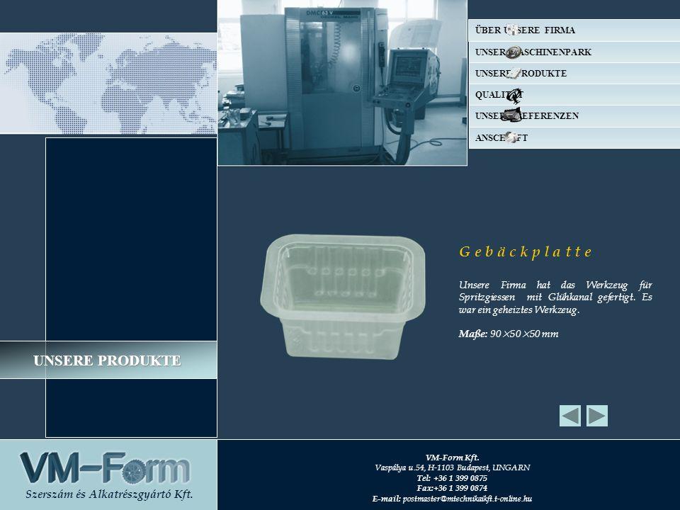 G e b ä c k p l a t t e Unsere Firma hat das Werkzeug für Spritzgiessen mit Glühkanal gefertigt.
