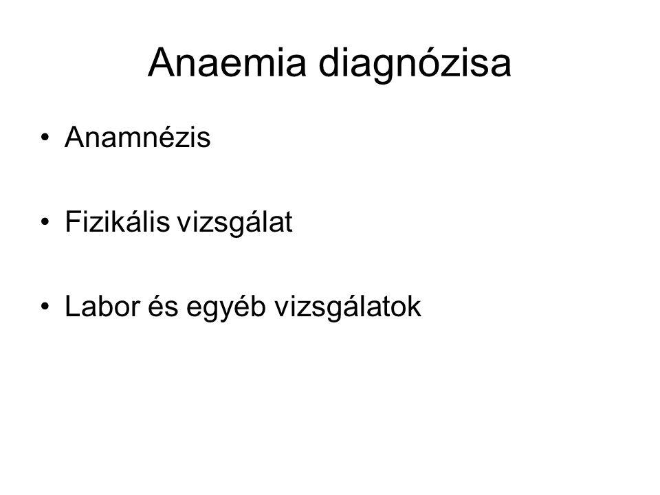 Anaemia diagnózisa Anamnézis Fizikális vizsgálat Labor és egyéb vizsgálatok