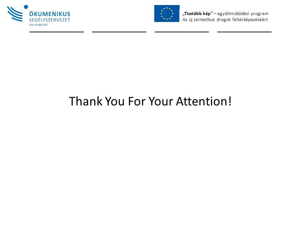 """""""Tisztább kép – együttműködési program Az új szintetikus drogok feltérképezéséért Thank You For Your Attention!"""