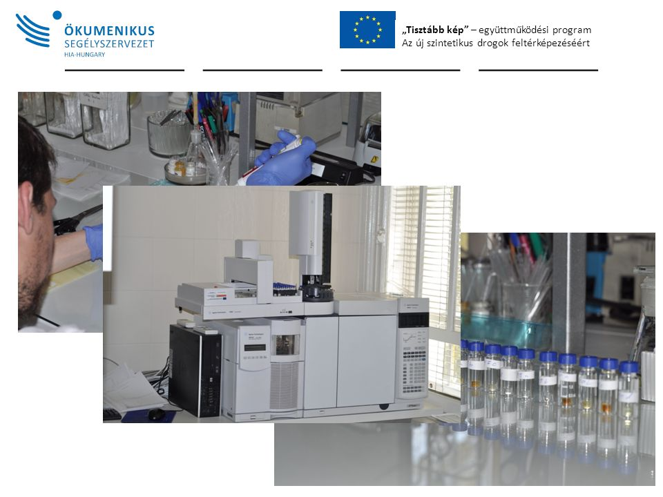 """""""Tisztább kép – együttműködési program Az új szintetikus drogok feltérképezéséért Instrument: Agilent 7890A, MS 5975C Capillary column: HP-35MS UI, 30 m × 0,25 mm × 0,25 µm Injection: 1 µL sample Injection mode: sample+air+solvent Injector temperature: 250 °C He-pressure: 11.681 psi Sampling: split Split ratio: 20:1 Oven temp."""