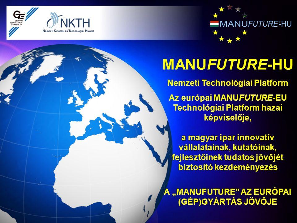 MANUFUTURE-HU Nemzeti Technológiai Platform Az európai MANUFUTURE-EU Technológiai Platform hazai képviselője, a magyar ipar innovatív vállalatainak, k