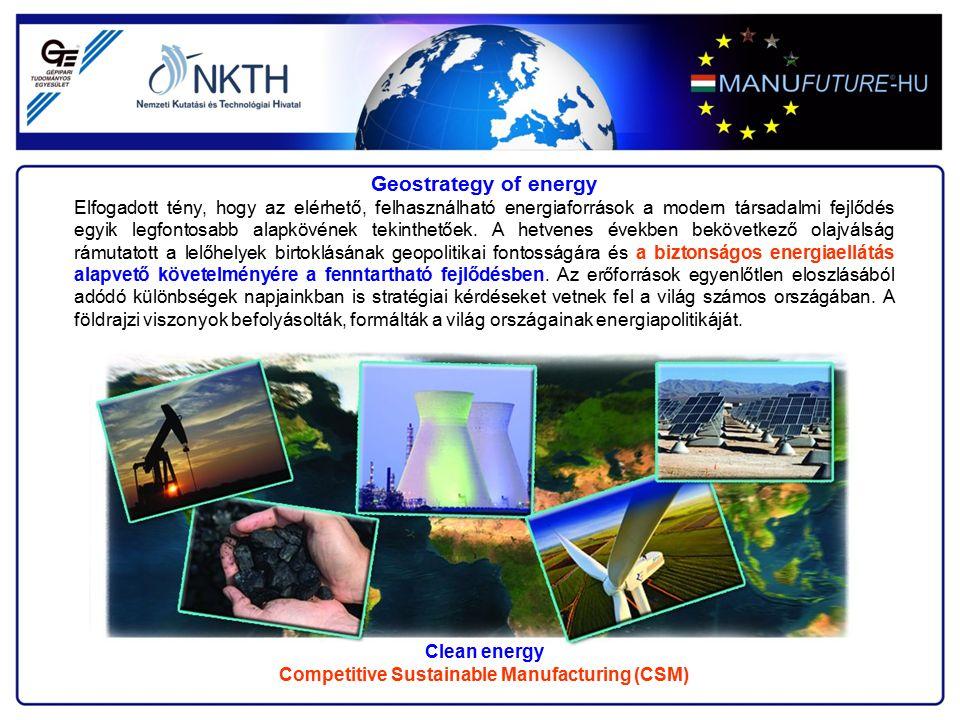 A gépgyártástechnológiában a világméretű fejlődési folyamat során kialakult négy kutatási főirány: az adaptív-, a digitális-, a tudásalapú-, a hálózatban történő- gyártás, amely a versenyképes fenntartható gyártás négy alappillére The four pillar of Competitive Sustainable Manufacturing (CSM) Competitive Sustainable Manufacturing (CSM)