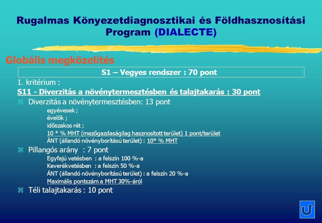 Rugalmas Könyezetdiagnosztikai és Földhasznosítási Program (DIALECTE) S1 – Vegyes rendszer : 70 pont 1.