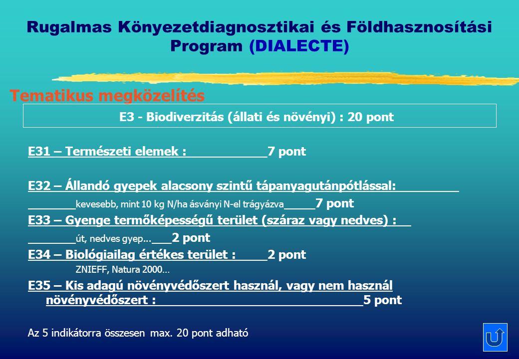 Rugalmas Könyezetdiagnosztikai és Földhasznosítási Program (DIALECTE) E3 - Biodiverzitás (állati és növényi) : 20 pont E31 – Természeti elemek : 7 pont E32 – Állandó gyepek alacsony szintű tápanyagutánpótlással: kevesebb, mint 10 kg N/ha ásványi N-el trágyázva 7 pont E33 – Gyenge termőképességű terület (száraz vagy nedves) : út, nedves gyep...