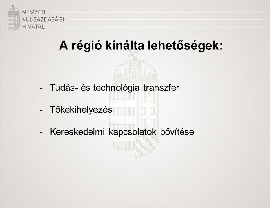 A régió kínálta lehetőségek: -Tudás- és technológia transzfer -Tőkekihelyezés -Kereskedelmi kapcsolatok bővítése