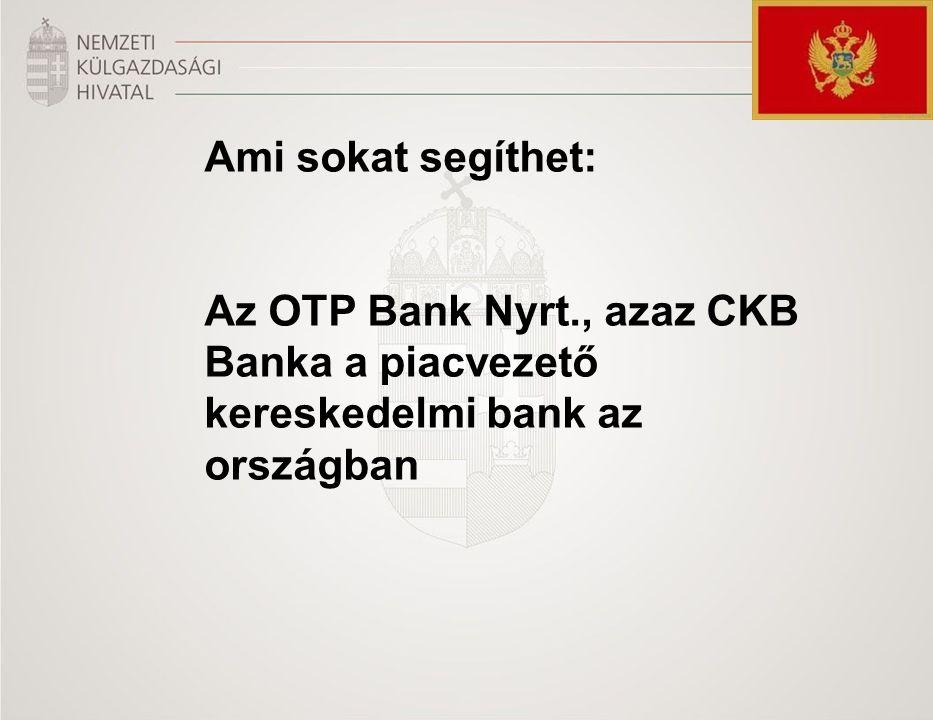 Ami sokat segíthet: Az OTP Bank Nyrt., azaz CKB Banka a piacvezető kereskedelmi bank az országban
