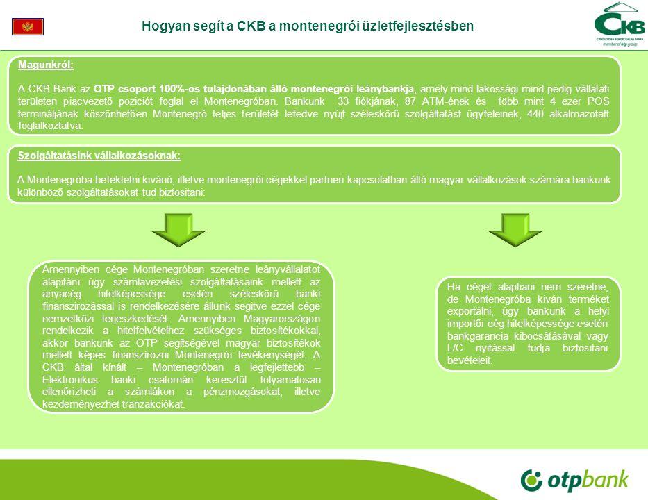 Magunkról: A CKB Bank az OTP csoport 100%-os tulajdonában álló montenegrói leánybankja, amely mind lakossági mind pedig vállalati területen piacvezető poziciót foglal el Montenegróban.
