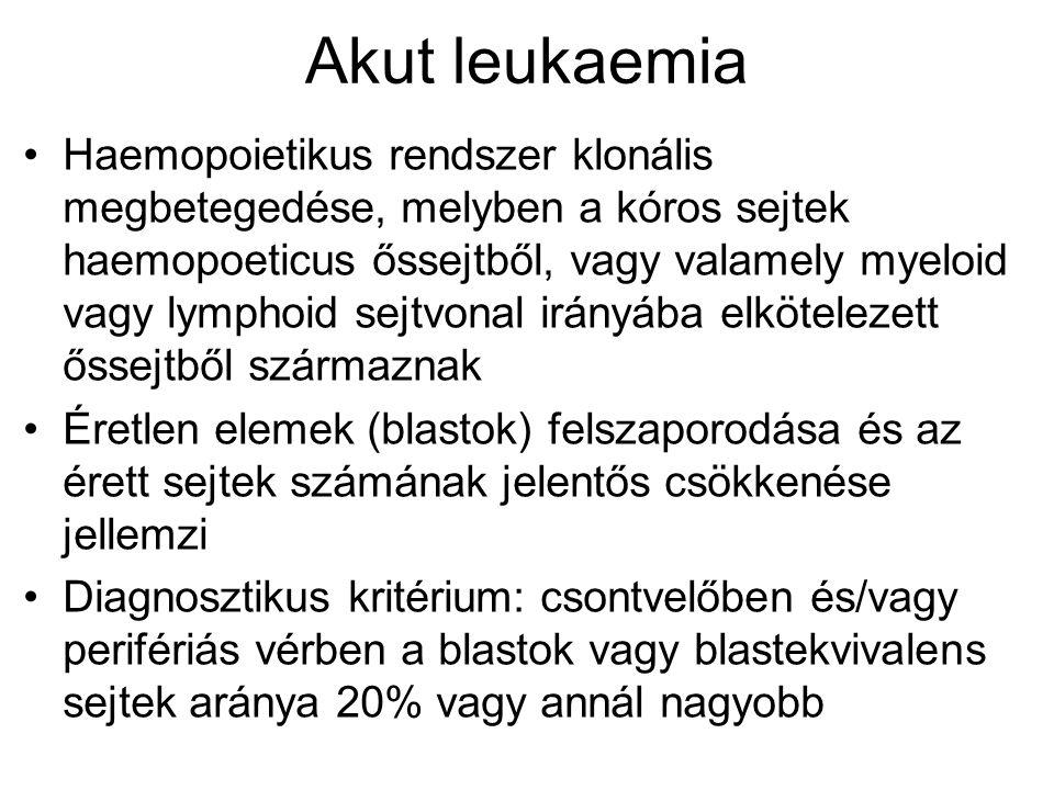 Akut leukaemia Haemopoietikus rendszer klonális megbetegedése, melyben a kóros sejtek haemopoeticus őssejtből, vagy valamely myeloid vagy lymphoid sejtvonal irányába elkötelezett őssejtből származnak Éretlen elemek (blastok) felszaporodása és az érett sejtek számának jelentős csökkenése jellemzi Diagnosztikus kritérium: csontvelőben és/vagy perifériás vérben a blastok vagy blastekvivalens sejtek aránya 20% vagy annál nagyobb