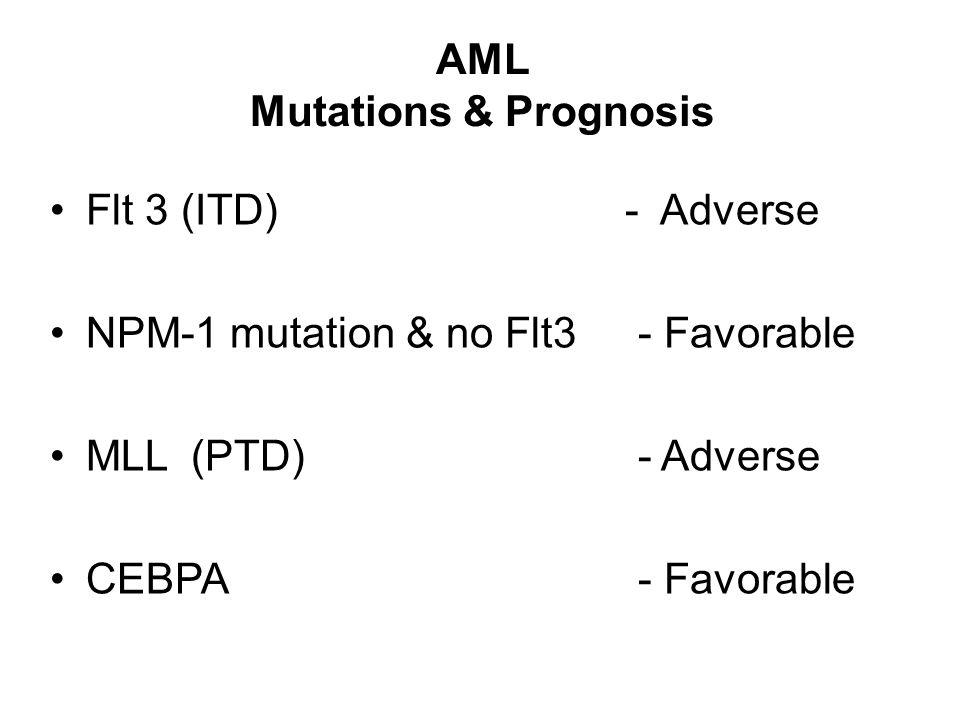 AML Mutations & Prognosis Flt 3 (ITD) - Adverse NPM-1 mutation & no Flt3 - Favorable MLL (PTD) - Adverse CEBPA - Favorable