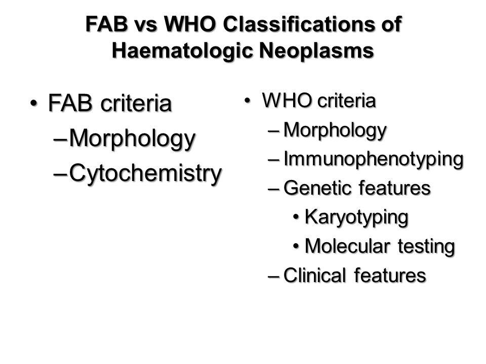 Acute Leukaemia: AML vs ALL Adults- 85% of acute leukaemia is AML Children- 85% of acute leukaemia is ALL Leukemic Blast morphology –AML: cytoplasmic granules, Auer rods, more cytoplasm, 2-5 nucleoli –ALL: no cytoplasmic granules, minimal cytoplasm, 1-2 nucleoli