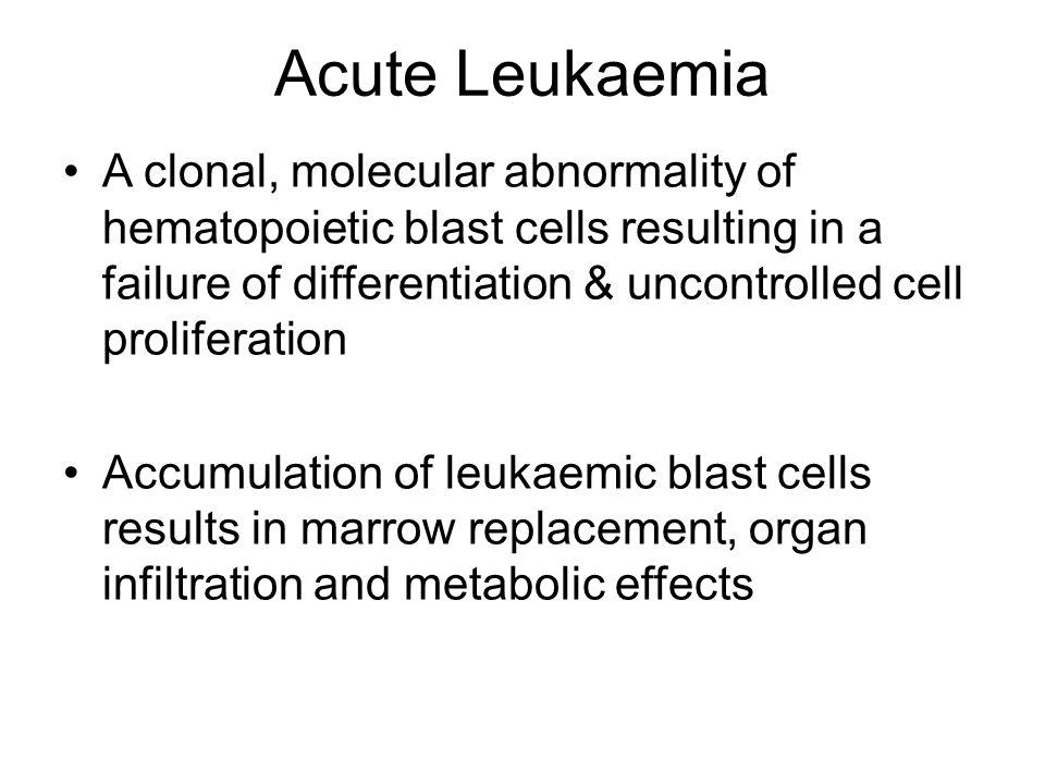 Akut leukaemia Malignus össejt betegség, érési zavar, kiszorítja az érett csontvelőt Legtöbbször ismeretlen ok, de besugárzás, benzol, egyes cytostatikumok: alkiláló szerek Az akut lymphoid leukaemia (ALL) gyermekek betegsége, az akut myeloid leukaemia (AML) 60 év körül jelentkezik