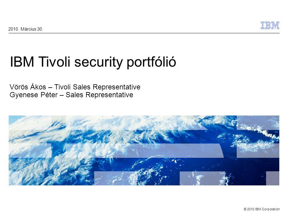 © 2010 IBM Corporation IBM Tivoli Security Portfolió 2 Márka érték Forrás: http://www.interbrand.com/best_global_brands.aspx