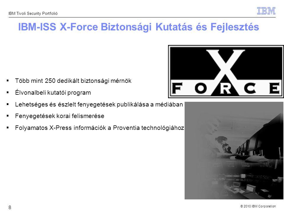 © 2010 IBM Corporation IBM Tivoli Security Portfolió 9 X-Force - Kutató / Fejlesztő csapat