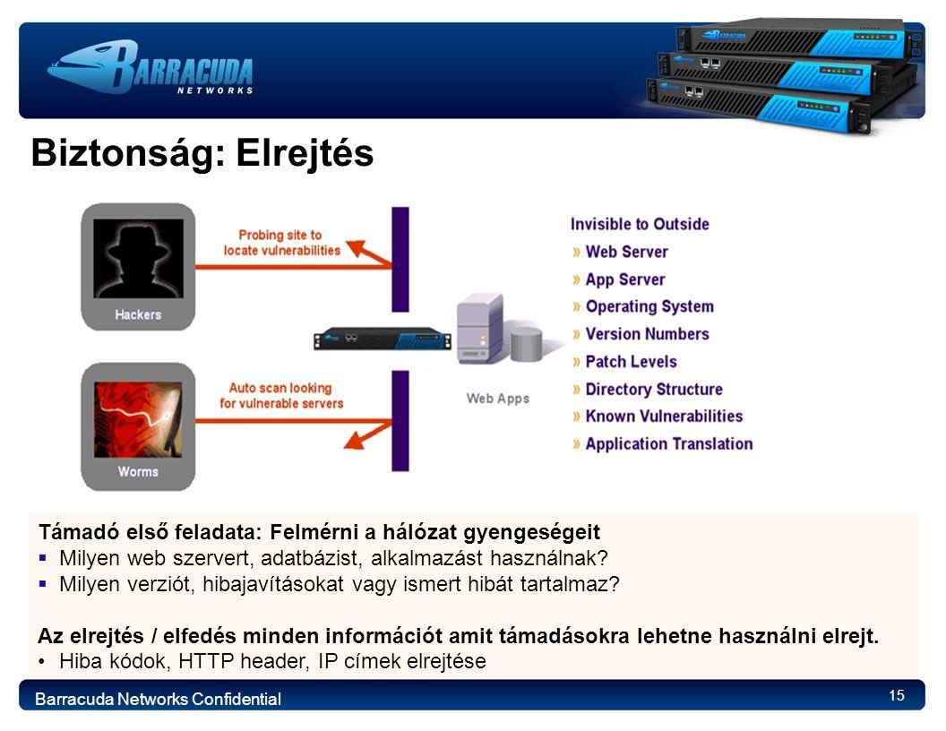 15 Biztonság: Elrejtés Támadó első feladata: Felmérni a hálózat gyengeségeit  Milyen web szervert, adatbázist, alkalmazást használnak.