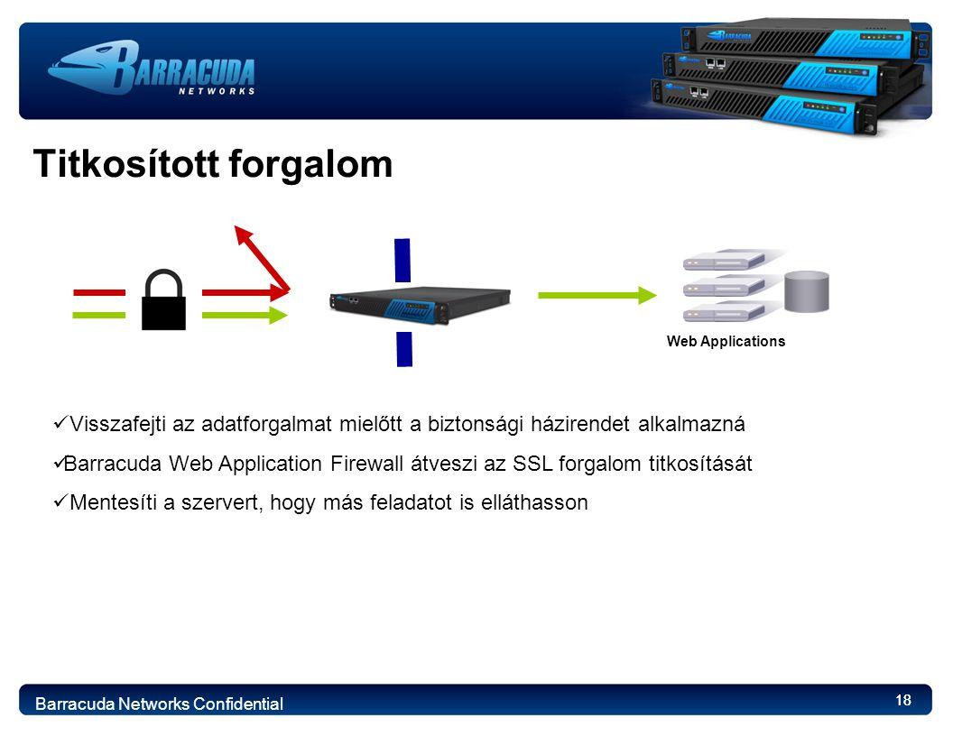 18 Titkosított forgalom Web Applications Visszafejti az adatforgalmat mielőtt a biztonsági házirendet alkalmazná Barracuda Web Application Firewall átveszi az SSL forgalom titkosítását Mentesíti a szervert, hogy más feladatot is elláthasson Barracuda Networks Confidential