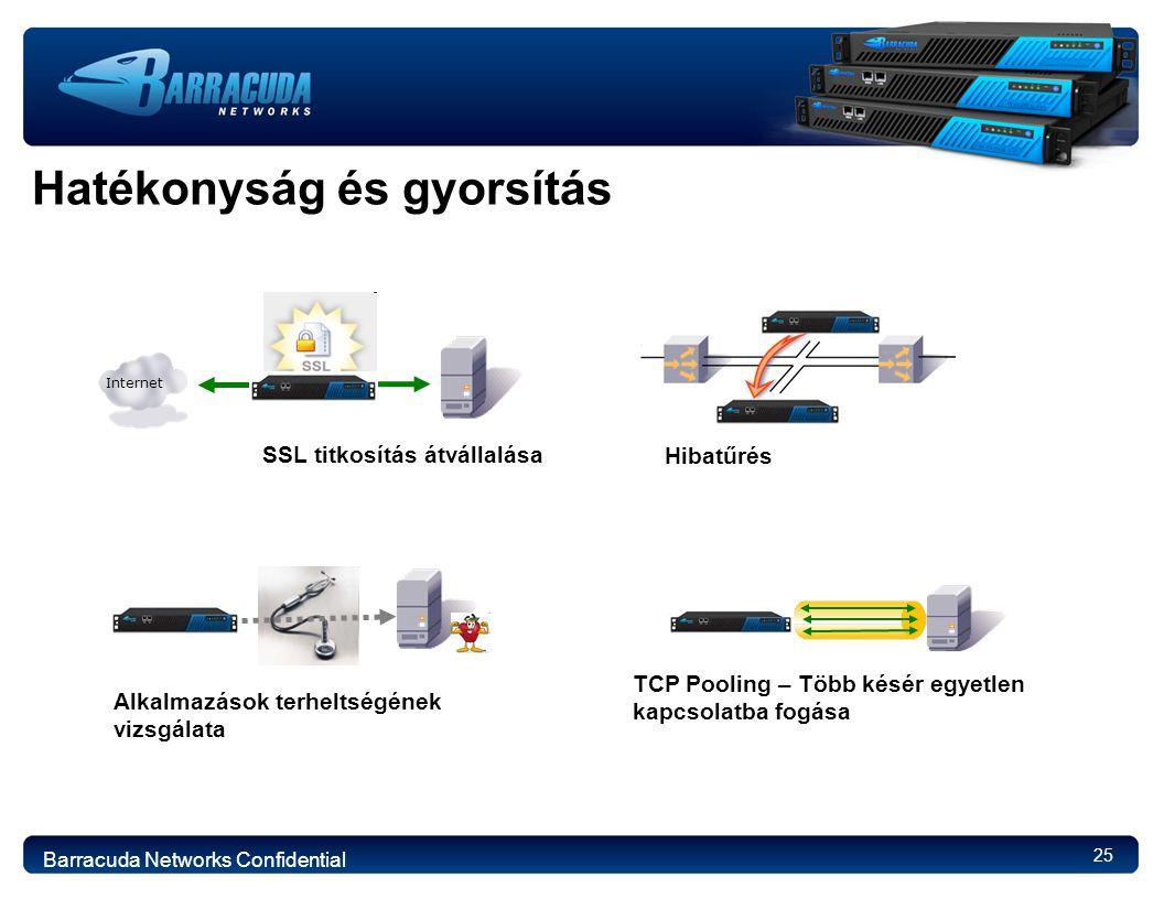 25 Hatékonyság és gyorsítás TCP Pooling – Több késér egyetlen kapcsolatba fogása SSL titkosítás átvállalása Internet Alkalmazások terheltségének vizsgálata Hibatűrés Barracuda Networks Confidential