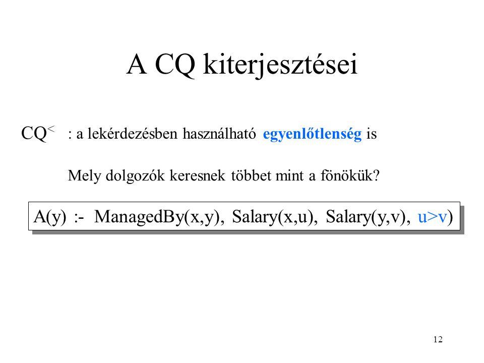 12 A CQ kiterjesztései CQ < A(y) :- ManagedBy(x,y), Salary(x,u), Salary(y,v), u>v) Mely dolgozók keresnek többet mint a fönökük.