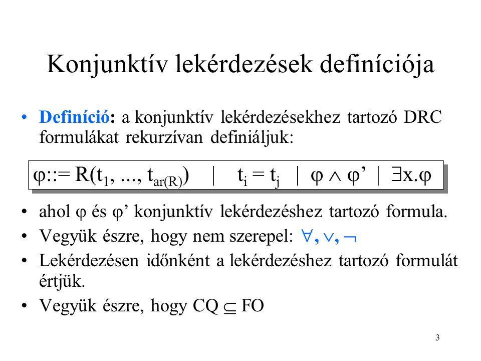 3 Konjunktív lekérdezések definíciója Definíció: a konjunktív lekérdezésekhez tartozó DRC formulákat rekurzívan definiáljuk: ahol  és  ' konjunktív lekérdezéshez tartozó formula.