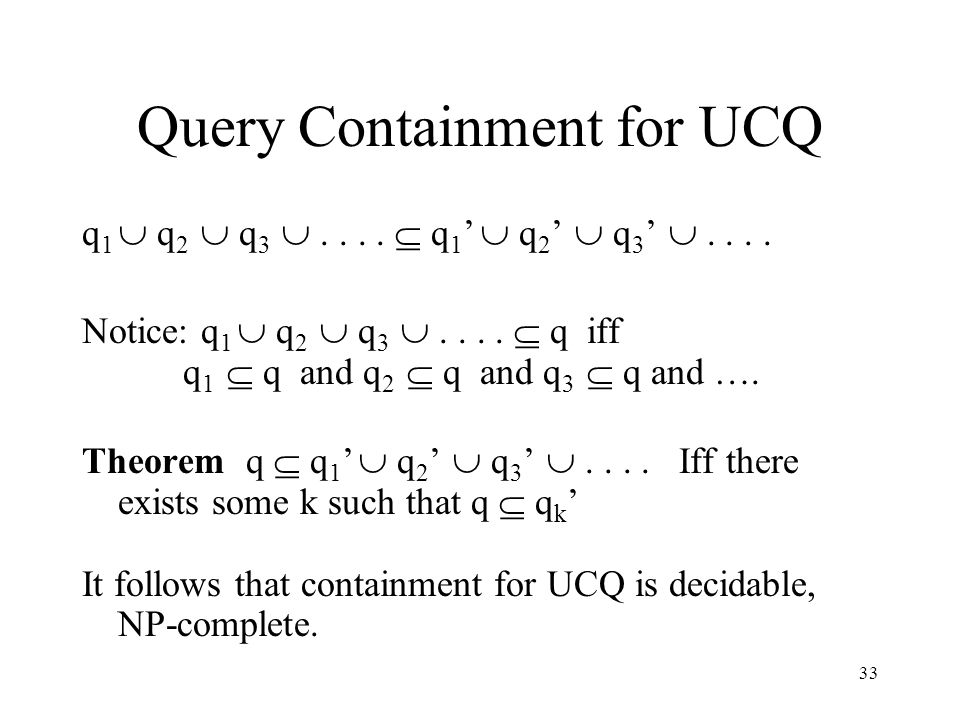 33 Query Containment for UCQ q 1  q 2  q 3 ....