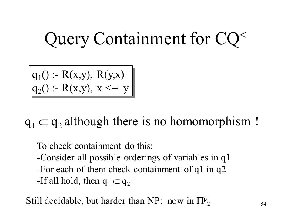 34 Query Containment for CQ < q 1 () :- R(x,y), R(y,x) q 2 () :- R(x,y), x <= y q 1 () :- R(x,y), R(y,x) q 2 () :- R(x,y), x <= y q 1  q 2 although there is no homomorphism .