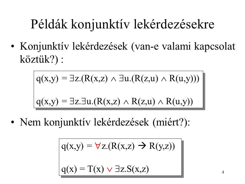 4 Példák konjunktív lekérdezésekre Konjunktív lekérdezések (van-e valami kapcsolat köztük?) : Nem konjunktív lekérdezések (miért?): q(x,y) =  z.(R(x,z)   u.(R(z,u)  R(u,y))) q(x,y) =  z.