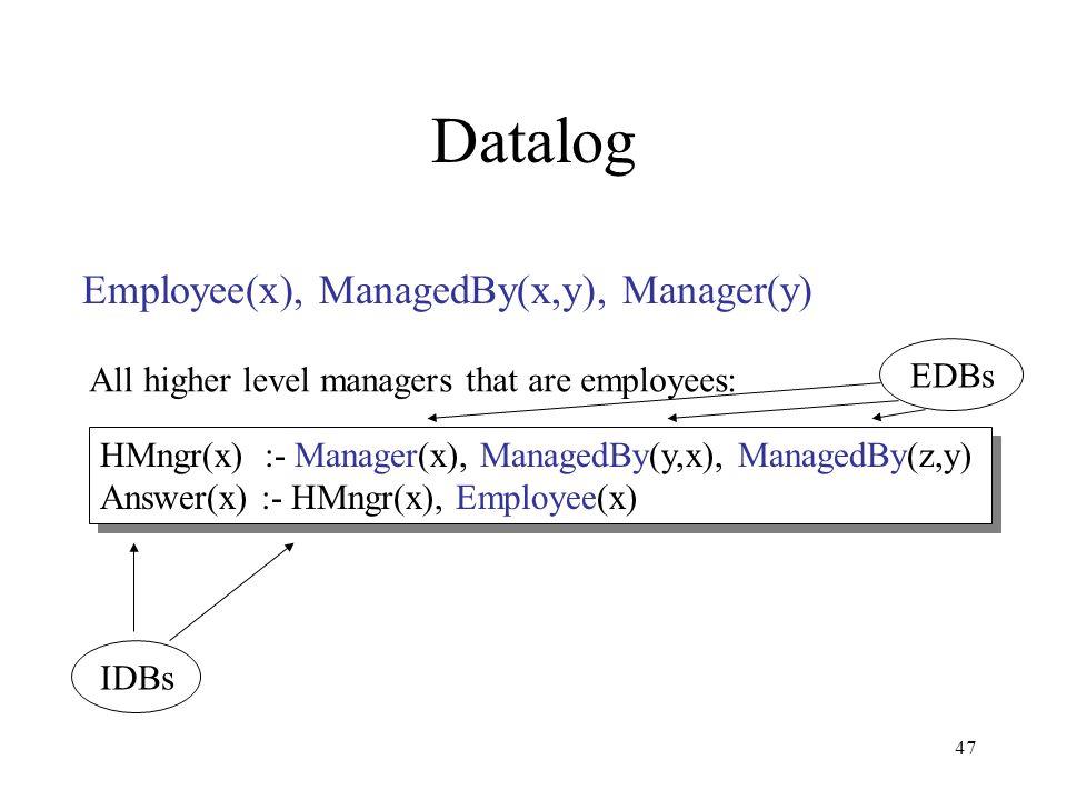 47 Datalog Employee(x), ManagedBy(x,y), Manager(y) HMngr(x) :- Manager(x), ManagedBy(y,x), ManagedBy(z,y) Answer(x) :- HMngr(x), Employee(x) HMngr(x)