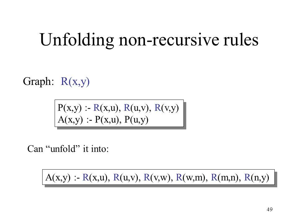49 Unfolding non-recursive rules Graph: R(x,y) P(x,y) :- R(x,u), R(u,v), R(v,y) A(x,y) :- P(x,u), P(u,y) P(x,y) :- R(x,u), R(u,v), R(v,y) A(x,y) :- P(x,u), P(u,y) Can unfold it into: A(x,y) :- R(x,u), R(u,v), R(v,w), R(w,m), R(m,n), R(n,y)