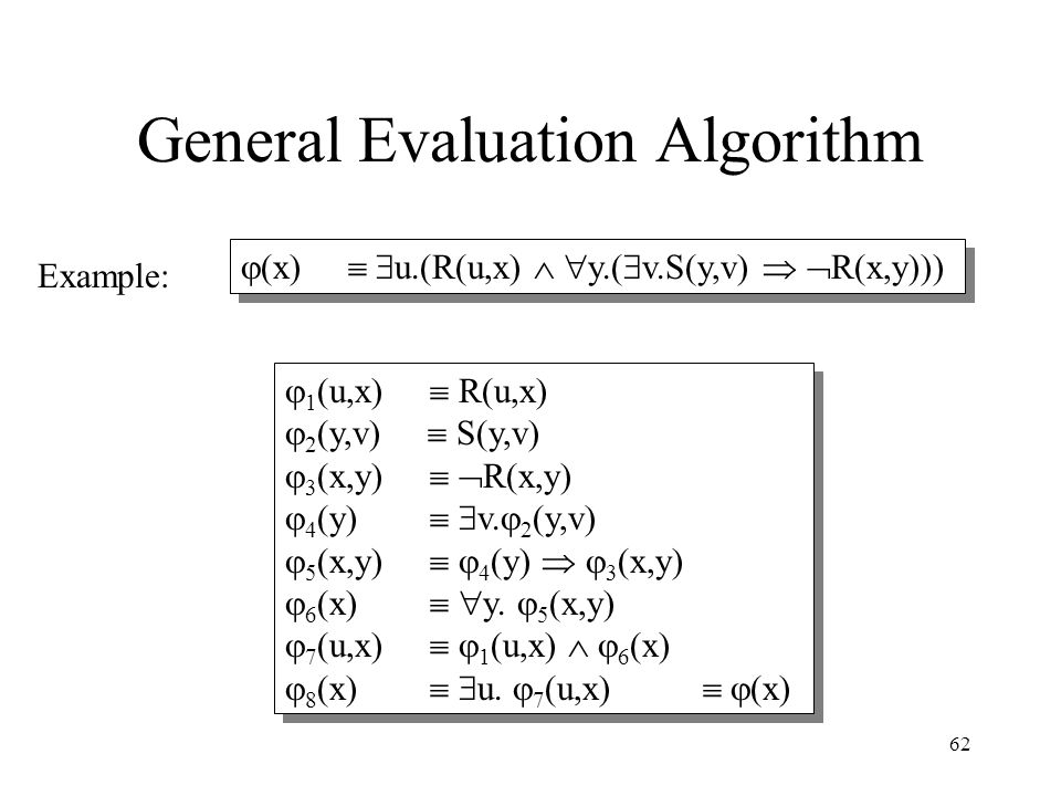 62 General Evaluation Algorithm Example:  1 (u,x)  R(u,x)  2 (y,v)  S(y,v)  3 (x,y)   R(x,y)  4 (y)   v.