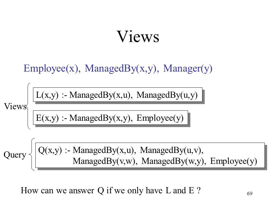 69 Views Employee(x), ManagedBy(x,y), Manager(y) L(x,y) :- ManagedBy(x,u), ManagedBy(u,y) Q(x,y) :- ManagedBy(x,u), ManagedBy(u,v), ManagedBy(v,w), Ma