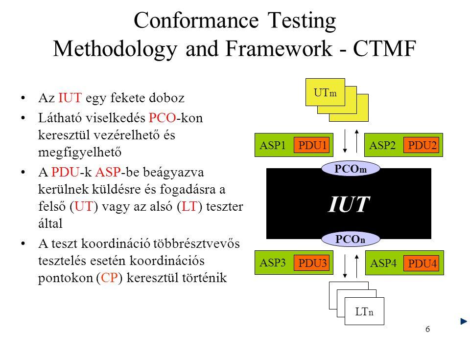 6 Az IUT egy fekete doboz Látható viselkedés PCO-kon keresztül vezérelhető és megfigyelhető A PDU-k ASP-be beágyazva kerülnek küldésre és fogadásra a felső (UT) vagy az alsó (LT) teszter által A teszt koordináció többrésztvevős tesztelés esetén koordinációs pontokon (CP) keresztül történik IUT PCO m PCO n ASP1 PDU1 ASP2 PDU2 ASP4 PDU4 ASP3 PDU3 UT m LT n Conformance Testing Methodology and Framework - CTMF