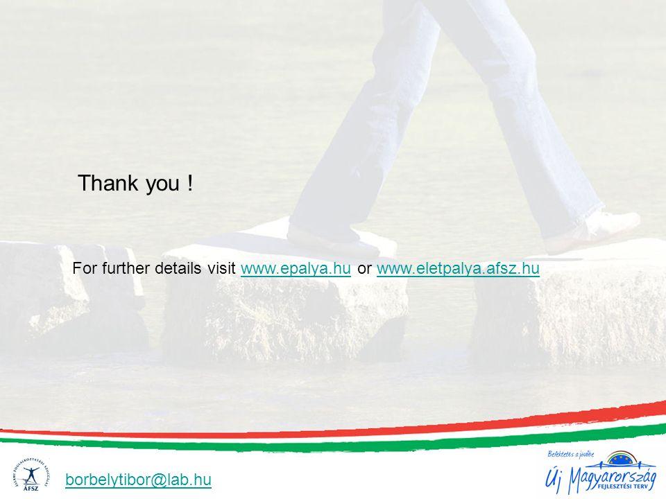 Thank you ! For further details visit www.epalya.hu or www.eletpalya.afsz.huwww.epalya.huwww.eletpalya.afsz.hu borbelytibor@lab.hu