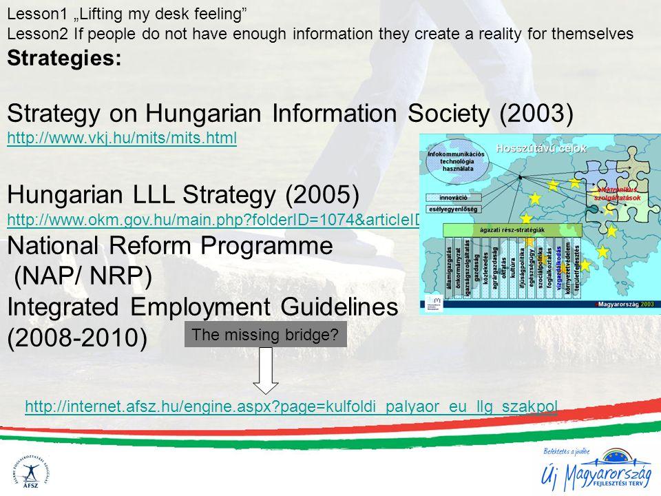 Strategies: Strategy on Hungarian Information Society (2003) http://www.vkj.hu/mits/mits.html Hungarian LLL Strategy (2005) http://www.okm.gov.hu/main.php?folderID=1074&articleID=5821&ctag=articlelist&iid=1 National Reform Programme (NAP/ NRP) Integrated Employment Guidelines (2008-2010) http://internet.afsz.hu/engine.aspx?page=kulfoldi_palyaor_eu_llg_szakpol The missing bridge.