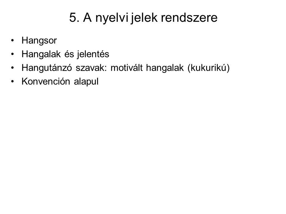 5. A nyelvi jelek rendszere Hangsor Hangalak és jelentés Hangutánzó szavak: motivált hangalak (kukurikú) Konvención alapul