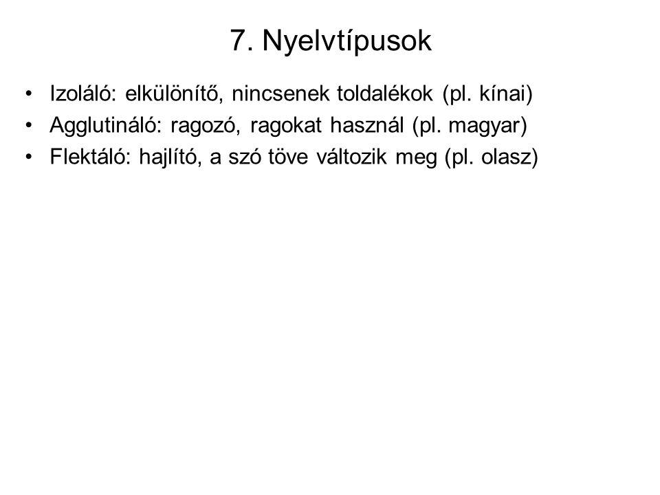 7. Nyelvtípusok Izoláló: elkülönítő, nincsenek toldalékok (pl.