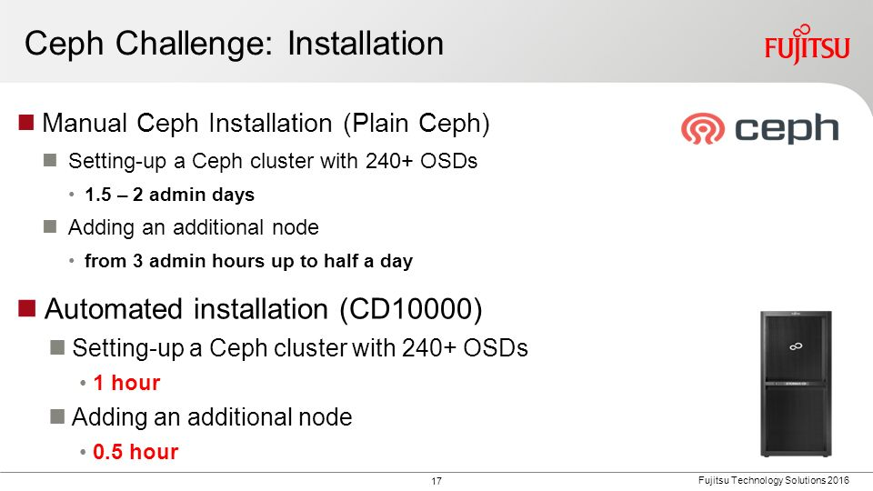 17 Fujitsu Technology Solutions 2016 Ceph Challenge: Installation Manual Ceph Installation (Plain Ceph) Setting-up a Ceph cluster with 240+ OSDs 1.5 –