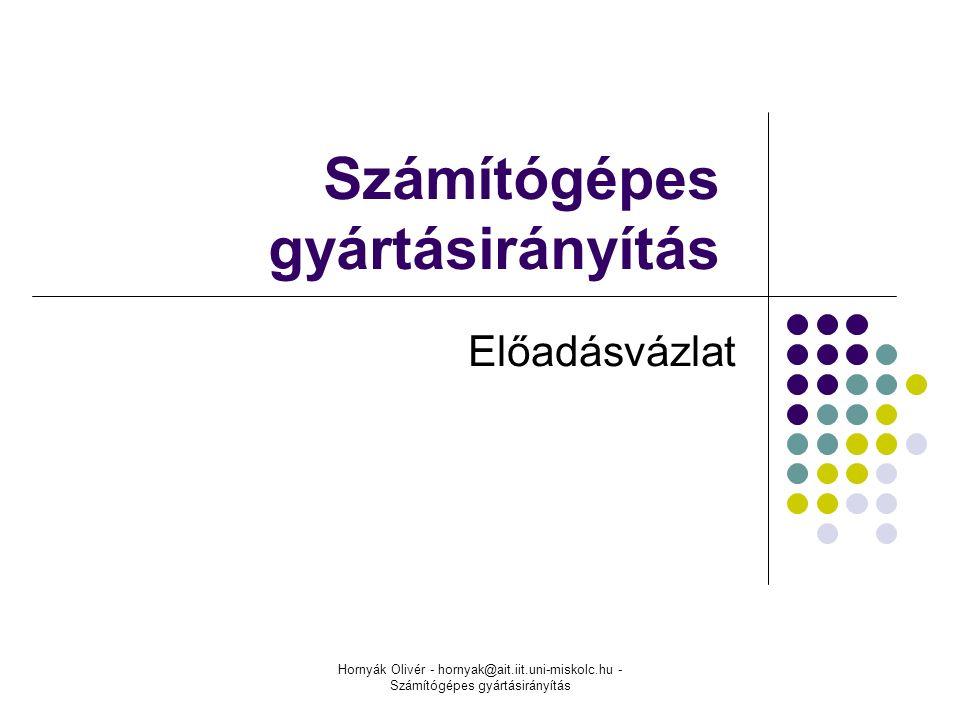 Hornyák Olivér - hornyak@ait.iit.uni-miskolc.hu - Számítógépes gyártásirányítás Számítógépes gyártásirányítás Előadásvázlat