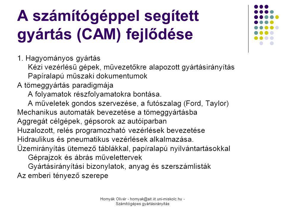 Hornyák Olivér - hornyak@ait.iit.uni-miskolc.hu - Számítógépes gyártásirányítás A számítógéppel segített gyártás (CAM) fejlődése 1.