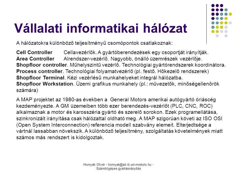 Hornyák Olivér - hornyak@ait.iit.uni-miskolc.hu - Számítógépes gyártásirányítás Vállalati informatikai hálózat A hálózatokra különböző teljesítményű csomópontok csatlakoznak: Cell ControllerCellavezérlők.