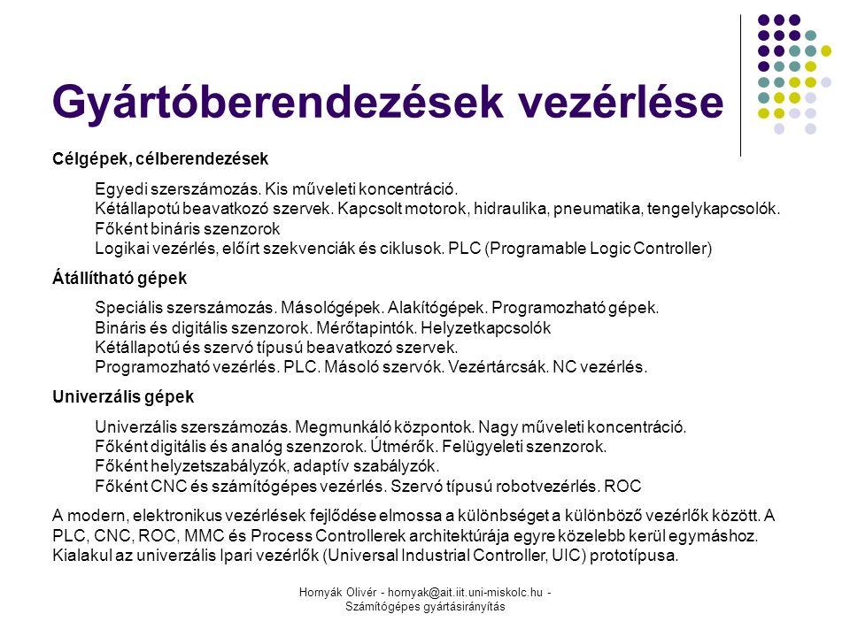 Hornyák Olivér - hornyak@ait.iit.uni-miskolc.hu - Számítógépes gyártásirányítás Gyártóberendezések vezérlése Célgépek, célberendezések Egyedi szerszámozás.