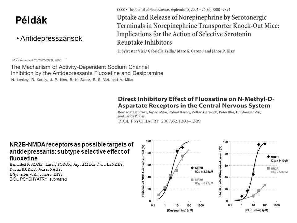 Példák Antidepresszánsok NR2B-NMDA receptors as possible targets of antidepressants: subtype selective effect of fluoxetine Bernadett K SZASZ, László FODOR, Arpad MIKE, Nora LENKEY, Dalma KURKÓ, József NAGY, E Sylvester VIZI, Janos P KISS BIOL PSYCHYATRY submitted
