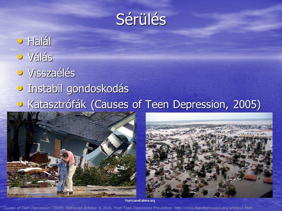 Sérülés Halál Halál Válás Válás Visszaélés Visszaélés Instabil gondoskodás Instabil gondoskodás Katasztrófák (Causes of Teen Depression, 2005) Katasztrófák (Causes of Teen Depression, 2005) HurricaneKatrina.org Causes of Teen Depression.