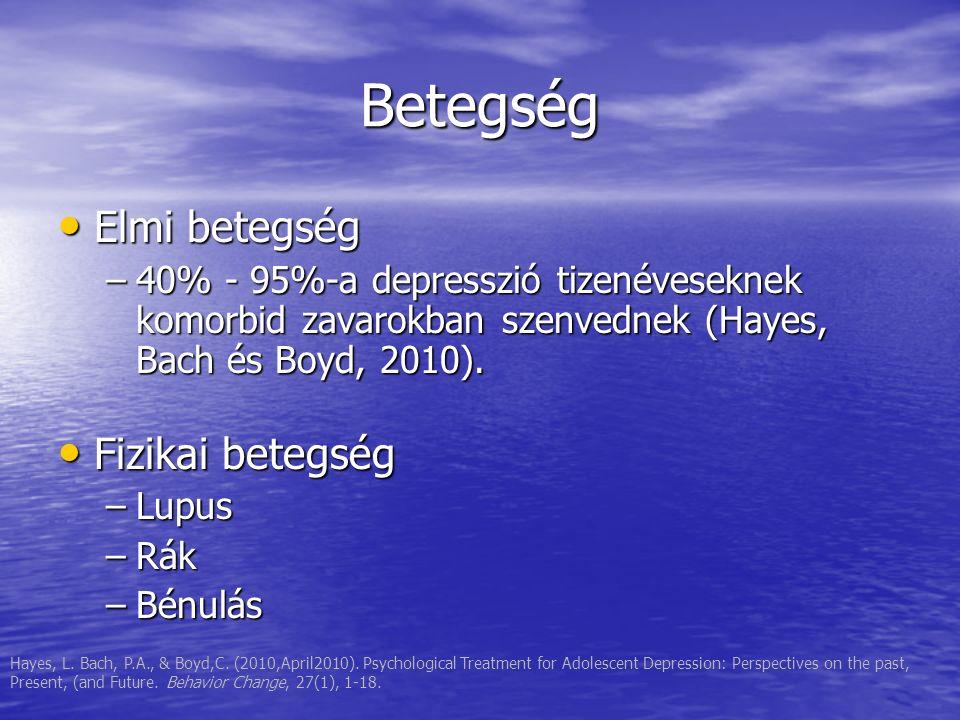 Betegség Elmi betegség Elmi betegség –40% - 95%-a depresszió tizenéveseknek komorbid zavarokban szenvednek (Hayes, Bach és Boyd, 2010). Fizikai betegs
