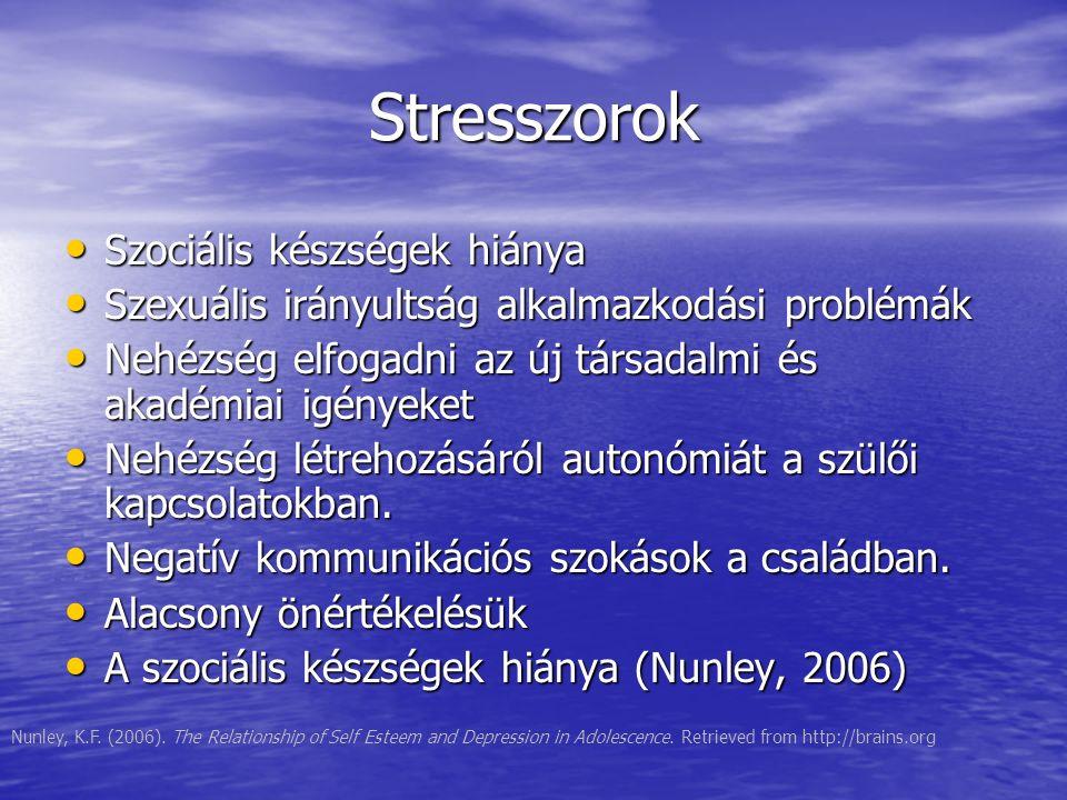 Stresszorok Szociális készségek hiánya Szociális készségek hiánya Szexuális irányultság alkalmazkodási problémák Szexuális irányultság alkalmazkodási