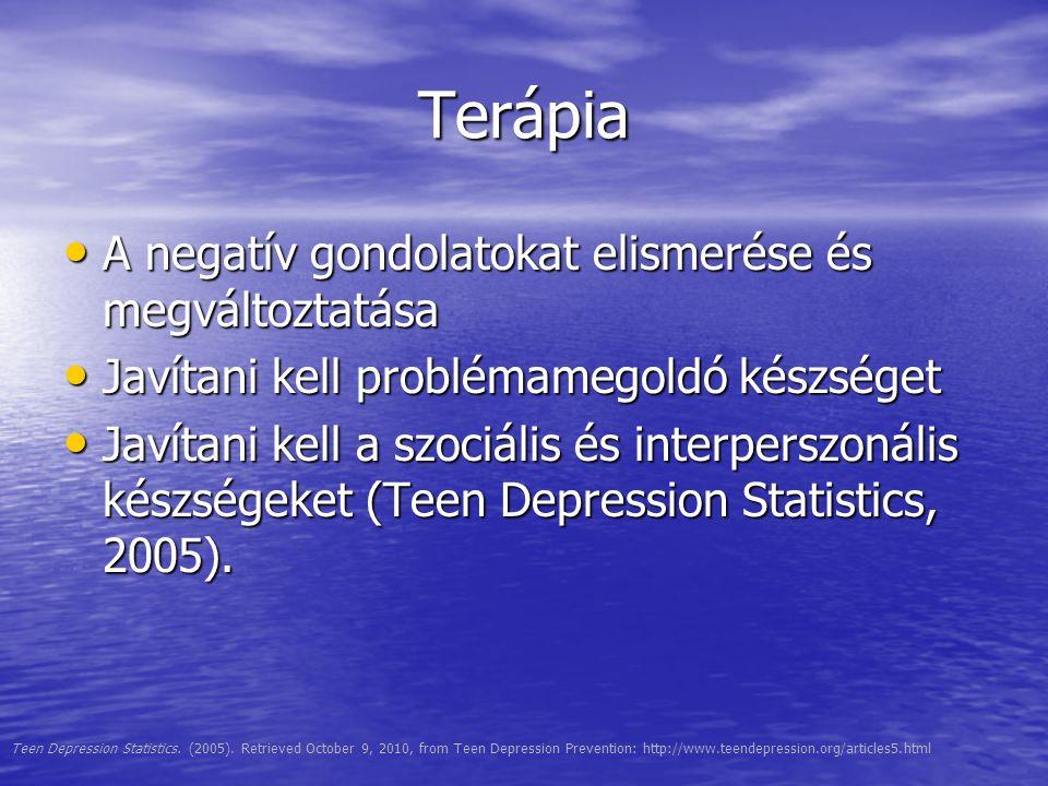 Terápia A negatív gondolatokat elismerése és megváltoztatása A negatív gondolatokat elismerése és megváltoztatása Javítani kell problémamegoldó készsé
