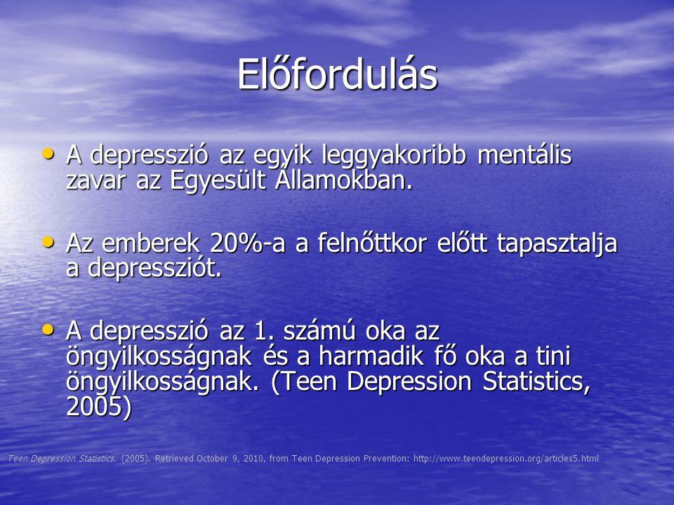 Előfordulás A depresszió az egyik leggyakoribb mentális zavar az Egyesült Államokban. A depresszió az egyik leggyakoribb mentális zavar az Egyesült Ál
