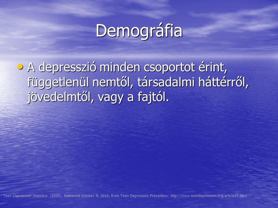 Demográfia A depresszió minden csoportot érint, függetlenül nemtől, társadalmi háttérről, jövedelmtől, vagy a fajtól. A depresszió minden csoportot ér