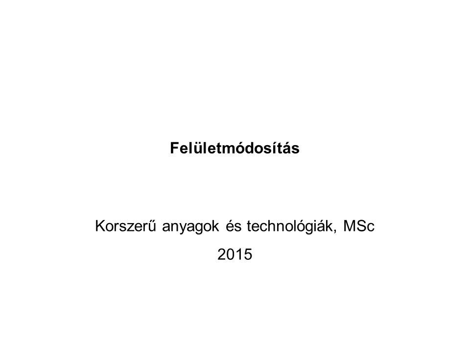 Felületmódosítás Korszerű anyagok és technológiák, MSc 2015