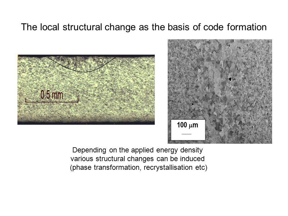 The local structural change as the basis of code formation Depending on the applied energy density various structural changes can be induced (phase transformation, recrystallisation etc)