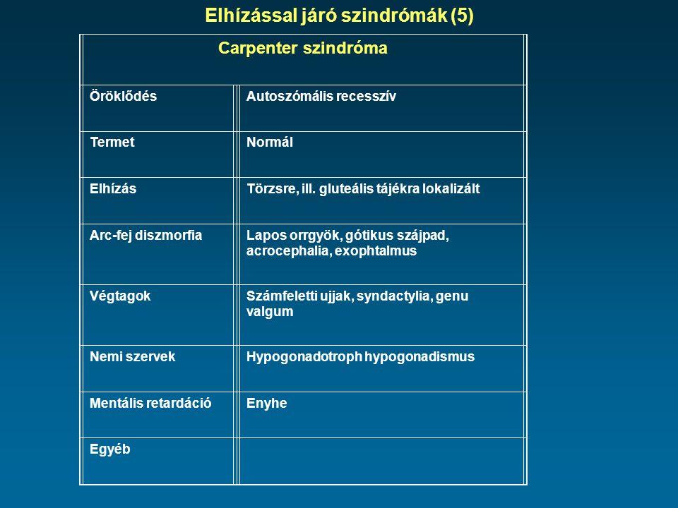 Elhízással járó szindrómák (5) Carpenter szindróma ÖröklődésAutoszómális recesszív TermetNormál ElhízásTörzsre, ill.