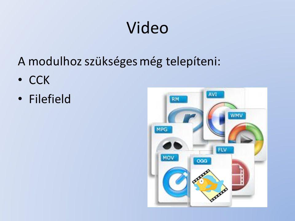 Támogatott fájltípusok: – mov, mp4, 3gp, 3g2, mpg, mpeg (handled by Quicktime Player) – divx (handled by Divx Player) – rm (handled by Real Player) – flv, f4v (You can use SWFTools module, FlowPlayer module or any other module)SWFTools – swf (handled by Adobe Flash Player) – dir, dcr (handled by Adobe Shockwave Player) – wmv, asf, avi (handled by Windows Media Player) – ogg theora (handled by Cortado Java Applet)Cortado Java Applet